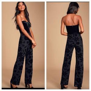 Lulu's Pants - Lulu's Love About Black Velvet Strapless Jumpsuit